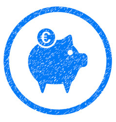 Euro piggy bank rounded grainy icon vector