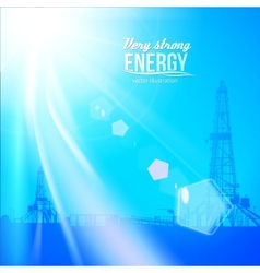 Oil rig silhouettes and blue sky vector