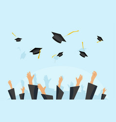 Graduating students or pupil hands in gown vector