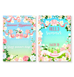 Summer holiday celebration poster set with flowers vector