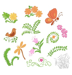 Elements of flora and fauna vector