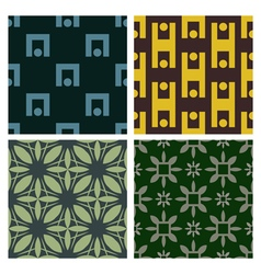4 Retro different seamless patterns vector image