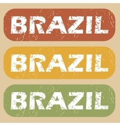 Vintage brazil stamp set vector