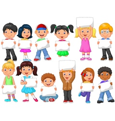 Cartoon children with blank sign vector image