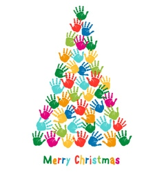 Hand print christmas tree vector