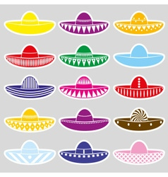 Mexico sombrero hat variations stickers set eps10 vector