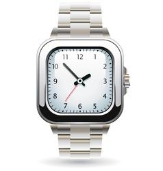 Silver wristwatch vector