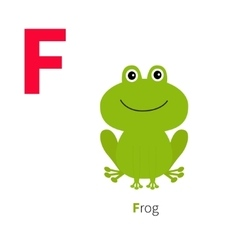 Letter f frog zoo alphabet english abc with vector