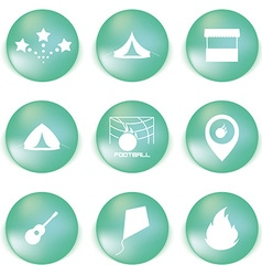 Icon set for holidays relax travel weekend in vector
