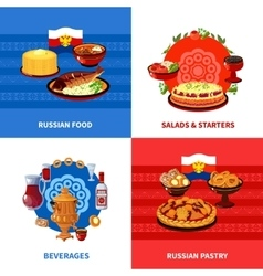 Russian food 4 flat icons square vector