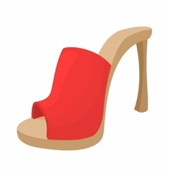 Female red opened shoe icon cartoon style vector