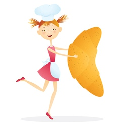 Girl cook with croissants vector