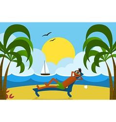 Lounging man on beach vector