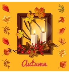 Autumn composition candles and photo frame vector