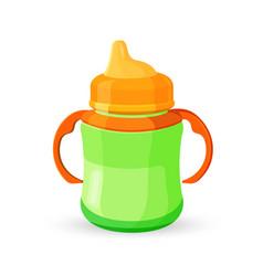 Baby cup bottle green orange translucent drinking vector