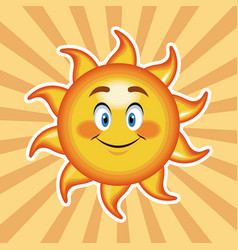 Character sun happy with striped background vector