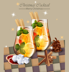 Christmas card with punch drinks winter holidays vector