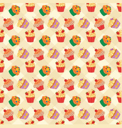 cupcakes seam2 vector image vector image