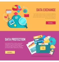 Data exchange and protection banners set vector
