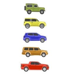Different colored suv car off-road 4x4 icon set vector