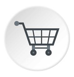 Empty supermarket cart icon circle vector