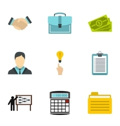 Firm icons set flat style vector