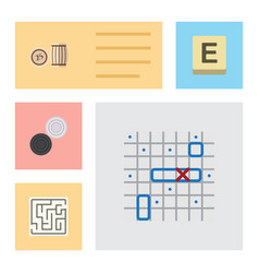 Flat icon entertainment set of chequer labyrinth vector