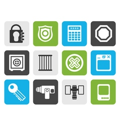Flat security and business icons vector