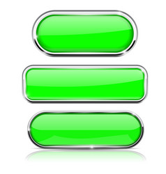 green buttons set collection of web 3d shiny vector image vector image