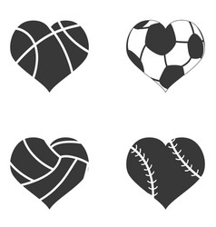heart ball icon vector image