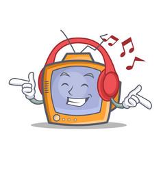 Listening music tv character cartoon object vector