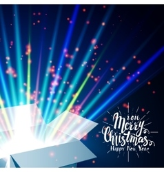 Merry christmas and open gift with fireworks from vector