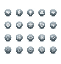 set diamond new icons 3 vector image vector image