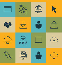 Set of 16 online connection icons includes cursor vector