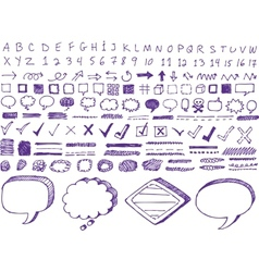 Set of hand-drawn isolated highlighter elements vector image