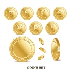 set of the currency golden isolated finance coin vector image vector image