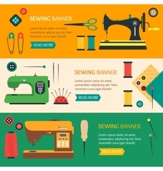 Sewing banner flat design style vector