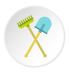 Shovel and rake icon circle vector