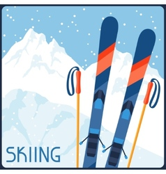 Skiing equipment on background of mountain winter vector