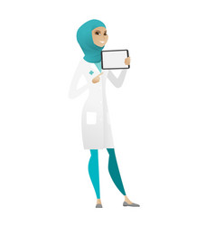 Smiling doctor holding tablet computer vector