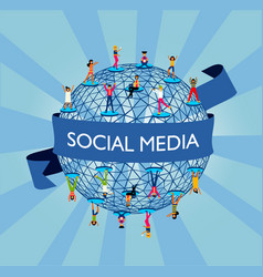 Social media world concept with people online vector
