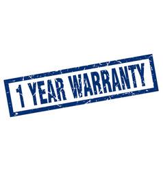 Square grunge blue 1 year warranty stamp vector