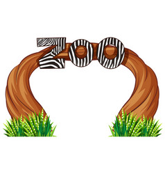 Zoo entrance with wood and grass vector