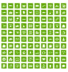 100 shopping icons set grunge green vector image