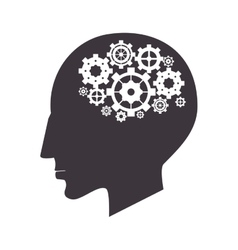 Brain and gears icon vector