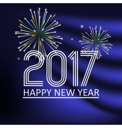 Happy new year 2017 on blue navy abstract color vector