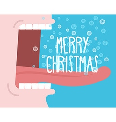Shouts winter man shouting merry christmas open vector