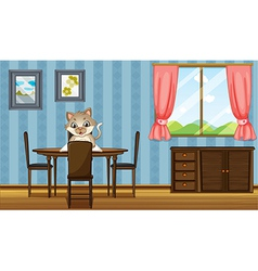 A table with a cat reading vector