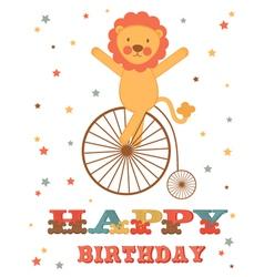 Lion birthday card vector