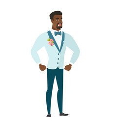 Young african-american furious groom screaming vector
